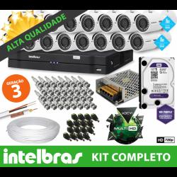 Super kit intelbras completo alta definição - 16 câmeras - 1 mega