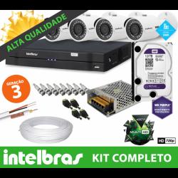 Super Kit Intelbras Completo Alta Definição - 4 Câmeras - HD