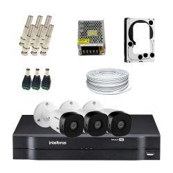 Super Kit Intelbras Oficial Econômico HD 3 Câmeras Bullet Completo