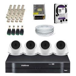 Super Kit Intelbras Oficial Interno Econômico HD 4 Câmeras Dome Completo