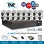 Kit dome super flex alta definição 16 canais com 16 câmeras tecvoz tvz completo