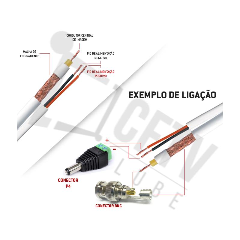Cabo Coaxial Telecam 4mm Flexível Bipolar 80% Malha Cobre - 300 Metros (Bobina)  - CFTV Clube | Brasil
