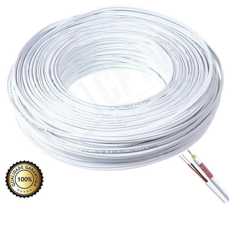 Cabo coaxial 4mm flexível bipolar 80% malha cobre branco- 100mts  - CFTV Clube | Brasil