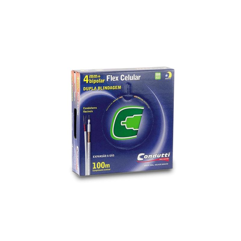 Cabo coaxial flex celular dupla blindagem 4mm bipolar 95% malha cobre - 100m - condutti  - CFTV Clube | Brasil