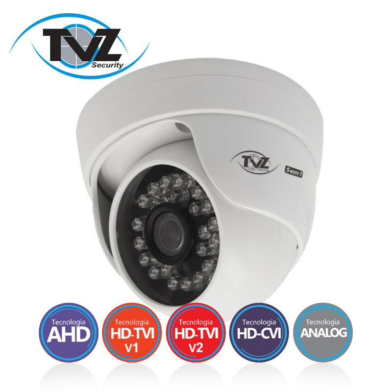Câmera TVZ Dome Flex HD 5DMP Alta Definição (1.0MP | 720p | 2.8mm | Plast)  - CFTV Clube | Brasil