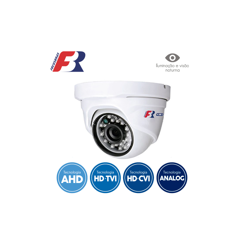 Câmera FBR Focusbras Dome Flex HD FS-PDF1M Alta Definição (1.0MP | 720p | 2.8mm | Plast)  - CFTV Clube | Brasil