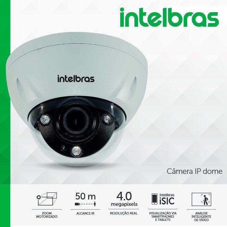 Câmera Intelbras IP VIP 5450 Z G2 - dome 4 MP, zoom de 5X (lente motorizada de 2.7 ~ 13,5mm), ajuste auto de foco, POE, IR inteligente de 50 mts  - CFTV Clube | Brasil