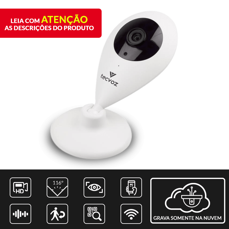 Câmera Tecvoz IP Sem Fio Inteligente TZO-CI101 Alta Definição  - CFTV Clube   Brasil