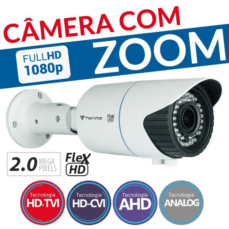 Câmera Tecvoz Varifocal com Zoom Flex HD QCB-20v Full HD (2.0MP | 1080p | 2.8mm~12mm | Metal)  - CFTV Clube | Brasil