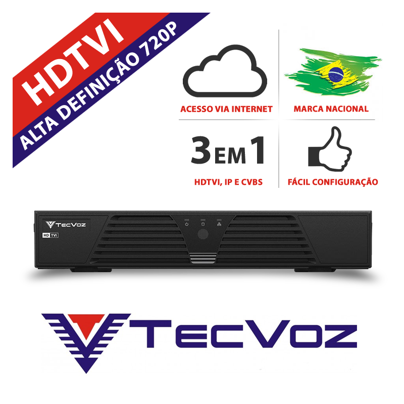 Dvr 16 canais stand alone tecvoz hibrido hdtvi - t1-ltvi16  - CFTV Clube | Brasil