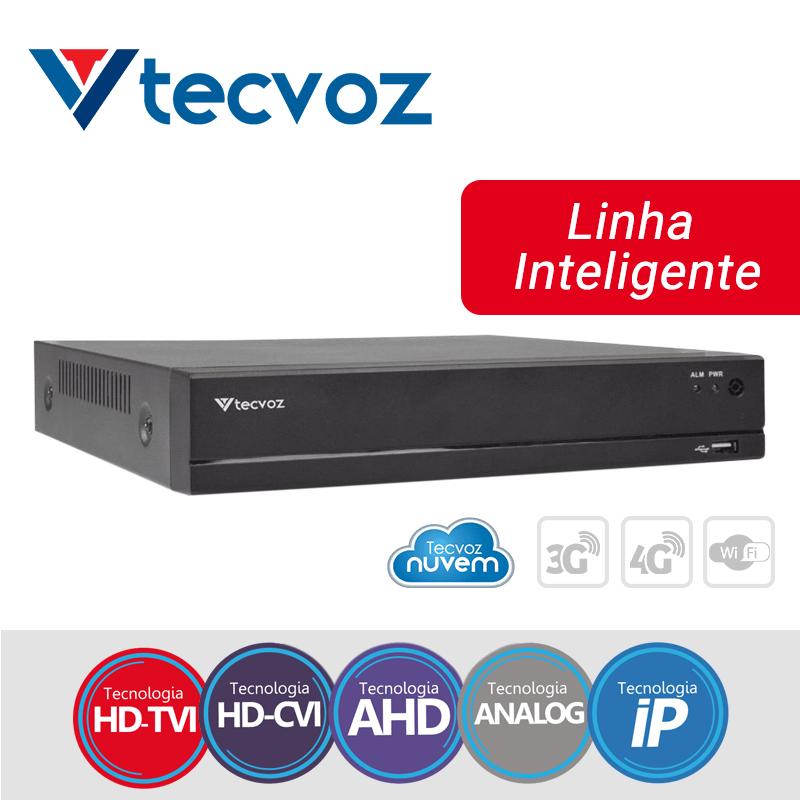 DVR Tecvoz 04 Canais Flex HD Linha Inteligente TV-E504  - CFTV Clube | Brasil