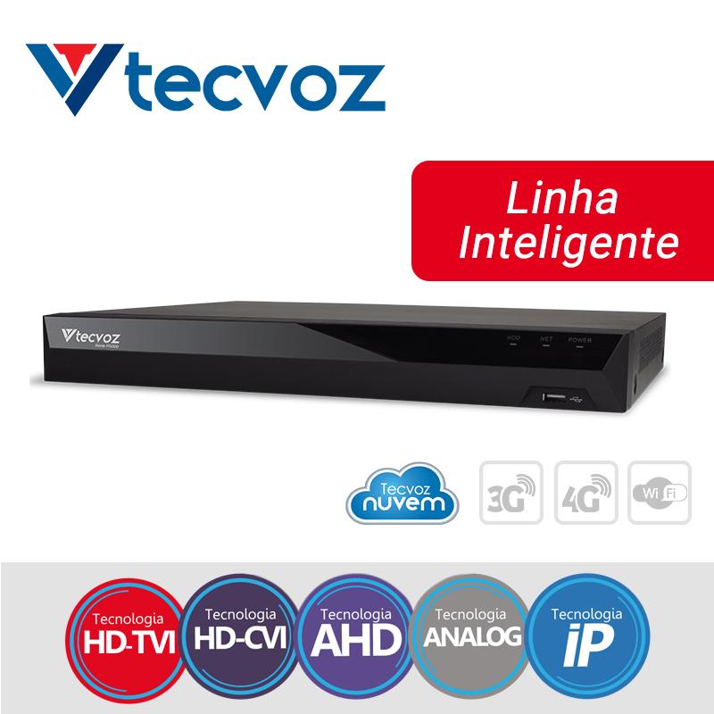DVR Tecvoz 04 Canais Flex HD Linha Inteligente TV-P5004  - CFTV Clube | Brasil