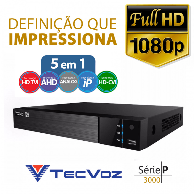 DVR Tecvoz 08 Canais Flex HD Full HD TW-P3008  - CFTV Clube | Brasil
