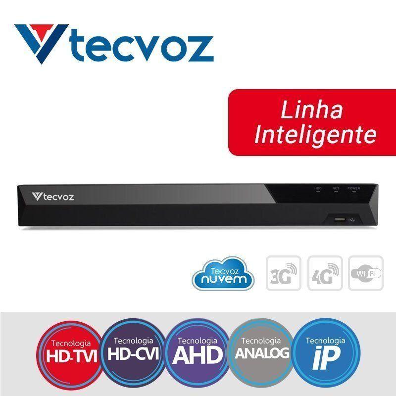 DVR Tecvoz 04 Canais Flex HD Linha Inteligente TV-U2004  - CFTV Clube | Brasil