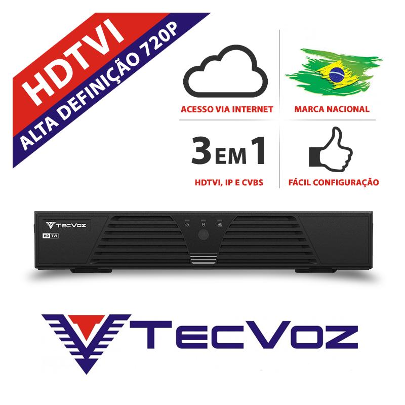 Dvr 8 canais stand alone tecvoz hdtvi hibrido- t1-ltvi08  - CFTV Clube | Brasil