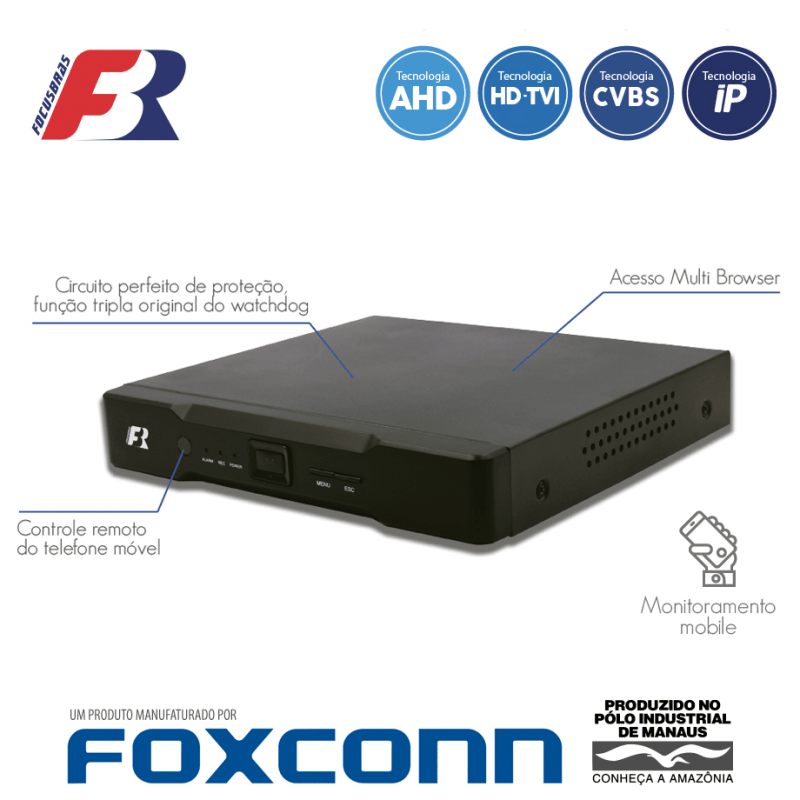 DVR Focusbras FBR 08 Canais Flex HD Alta Resolução HB5-1M08  - CFTV Clube | Brasil