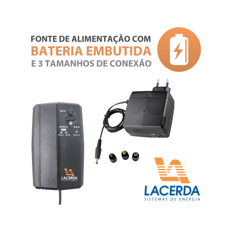 Fonte com Bateria Embutida Lacerda Ups-30  - CFTV Clube | Brasil