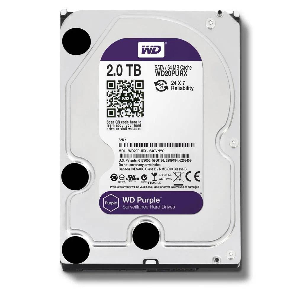 HD Sata Western Digital (WD) Purple 2TB - Sugerido pela Intelbras  - CFTV Clube | Brasil