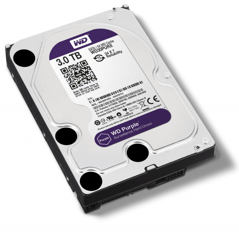 HD Sata Western Digital (WD) Purple 3TB - Sugerido pela Intelbras  - CFTV Clube | Brasil