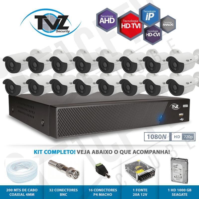 Kit Super Flex Alta definição 16 Canais com 16 Câmeras Tecvoz Tvz completo  - CFTV Clube | Brasil