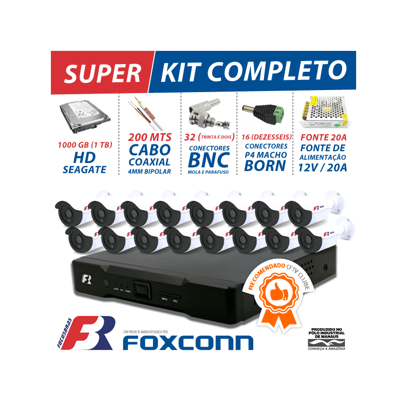 Kit 16 canais cftv super flex focusbras completo  - CFTV Clube | Brasil