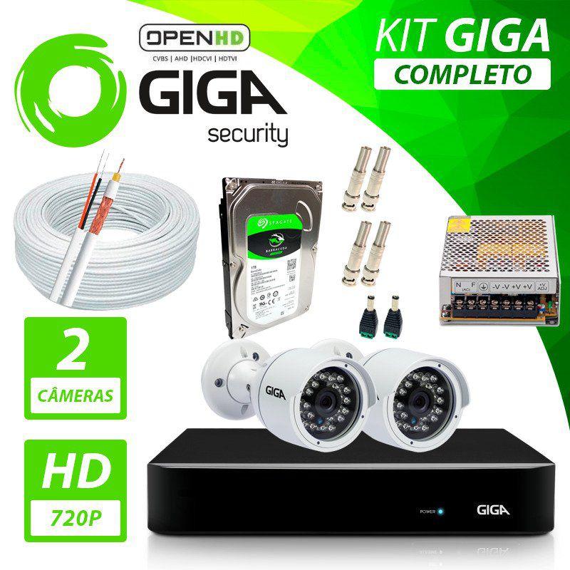 Kit Completo de Monitoramento com 2 Câmeras Open HD Giga Security  - CFTV Clube | Brasil