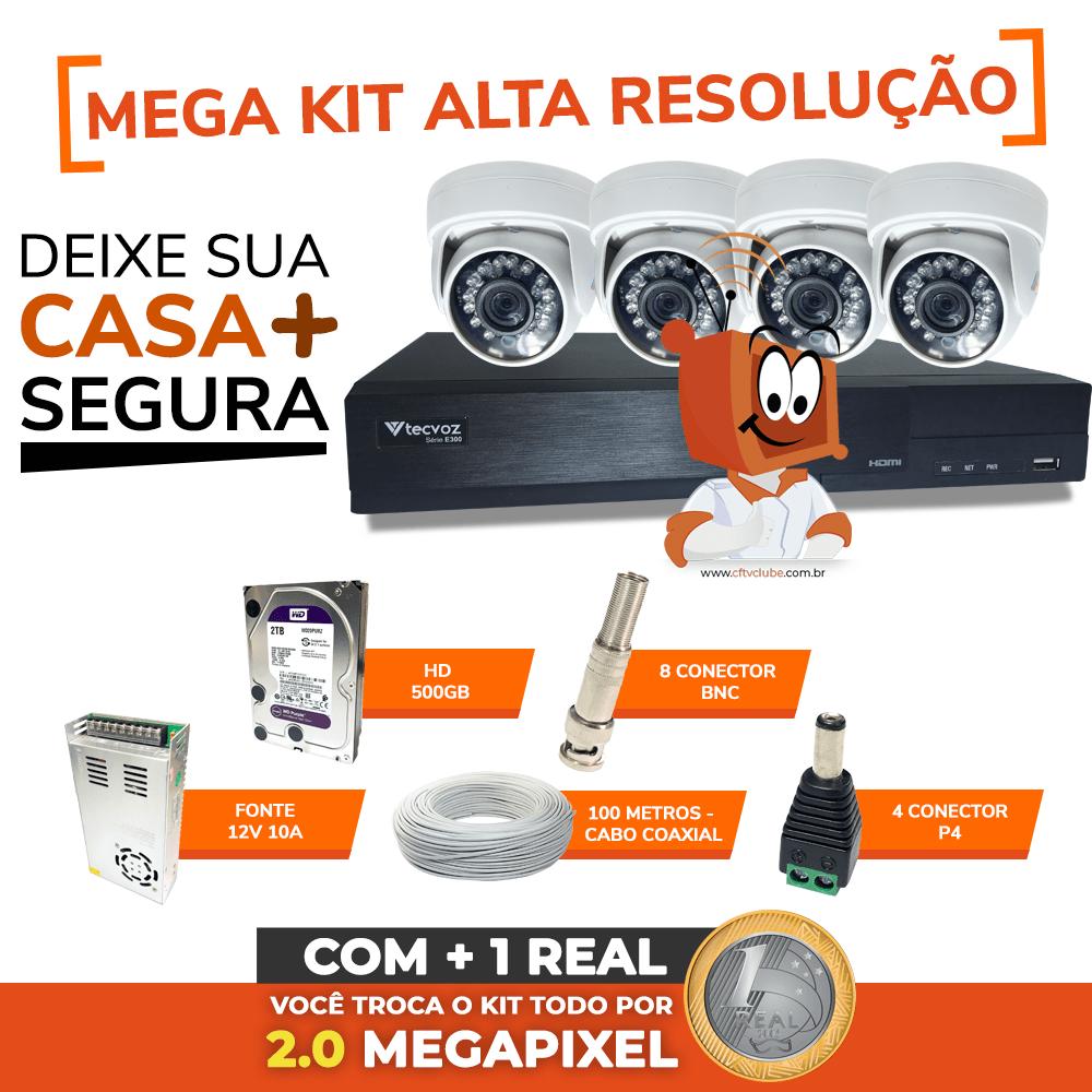Kit CFTV Clube Alta Definição 1.0 MP 720p - 4 Canais com 4 Câmeras Dome HD   - CFTV Clube   Brasil