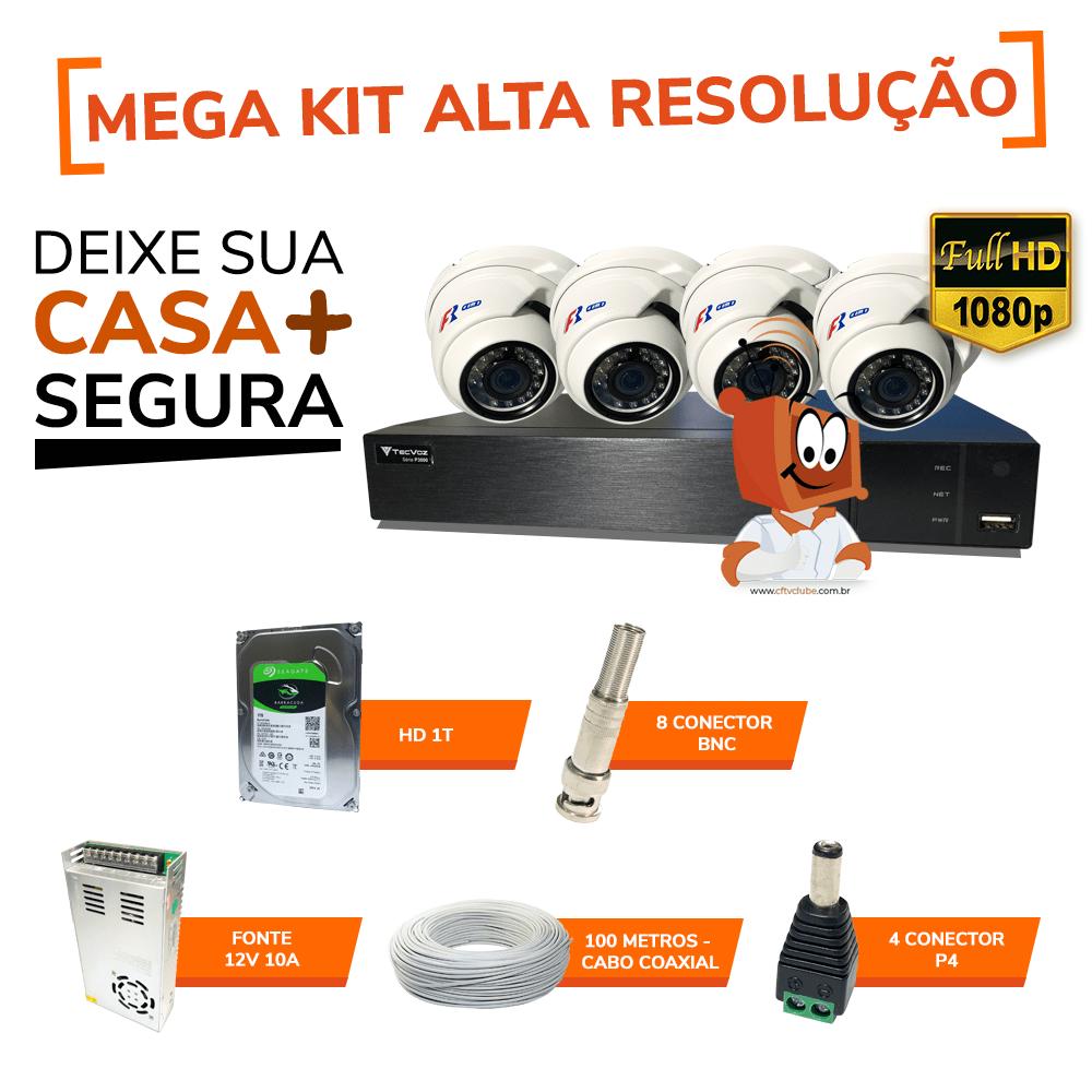 de38aa1e4 KIT CFTV CLUBE ALTA DEFINIÇÃO 1.0 MP 720P - 4 CANAIS COM 4 CÂMERAS DOME HD  + 1 Real Full HD