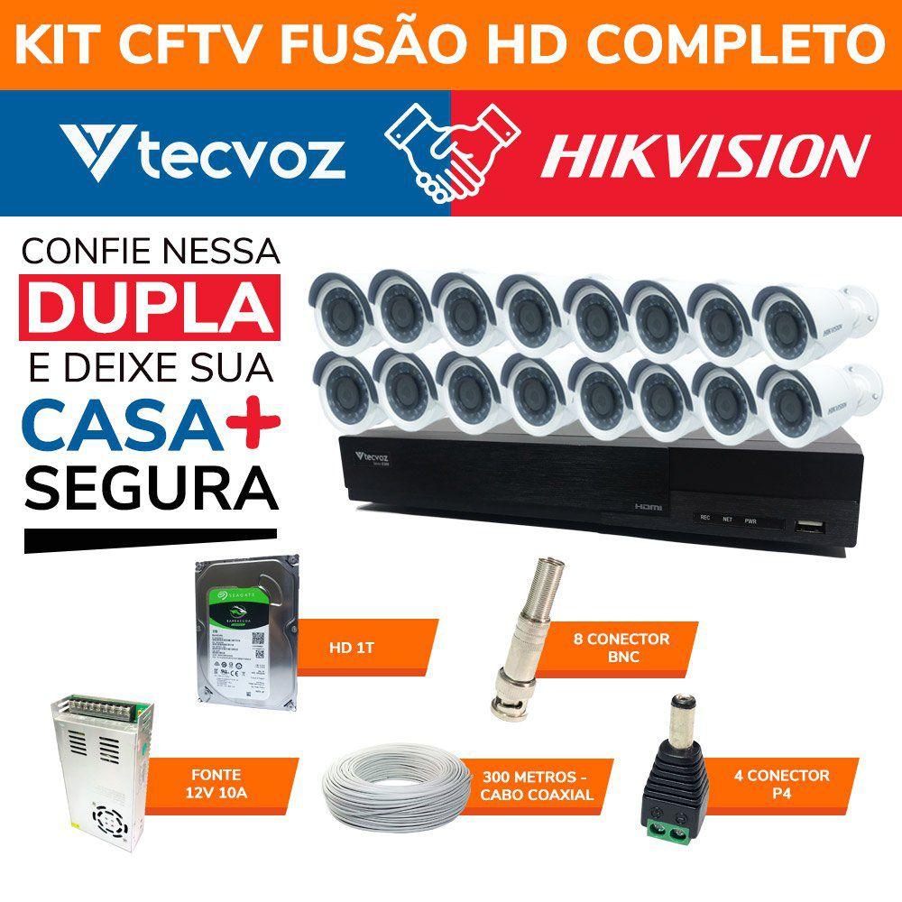 Kit CFTV Fusão HD Completo Tecvoz e Hikvision 16 Canais em Alta Definição HDTVI  - CFTV Clube | Brasil
