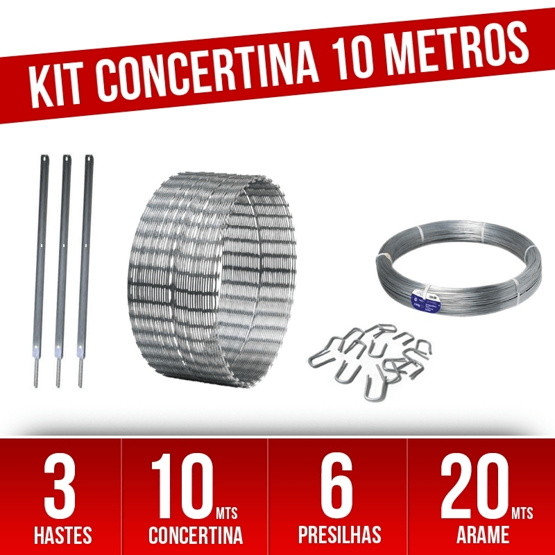 Kit completo Concertina Helicoidal 30cm - para 10 Metros  - CFTV Clube | Brasil