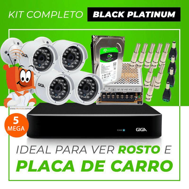 Kit Completo de Monitoramento CFTV com 4 Câmeras Open HD 5 Mega Giga Security Black Platinum  - CFTV Clube | Brasil