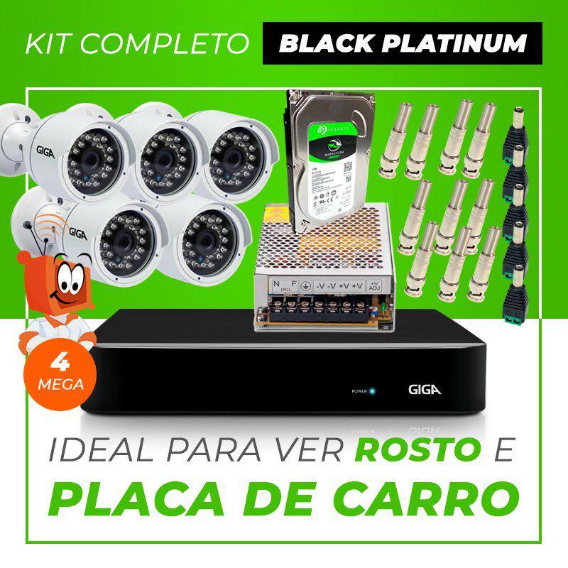 Kit Completo de Monitoramento CFTV com 5 Câmeras Open HD 4 Mega Giga Security Black Platinum  - CFTV Clube   Brasil