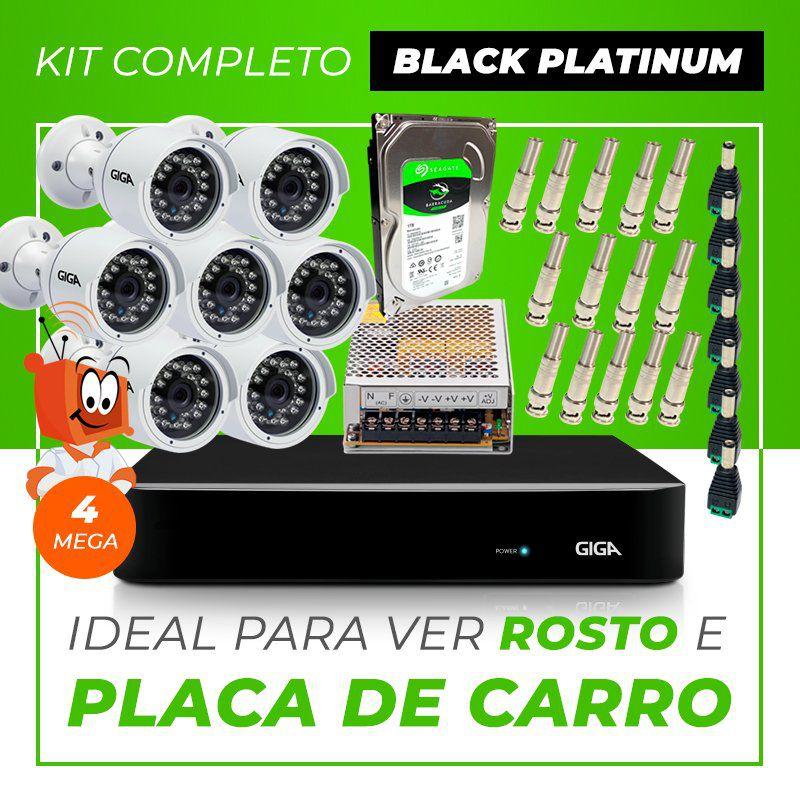 Kit Completo de Monitoramento CFTV com 7 Câmeras Open HD 4 Mega Giga Security Black Platinum  - CFTV Clube | Brasil