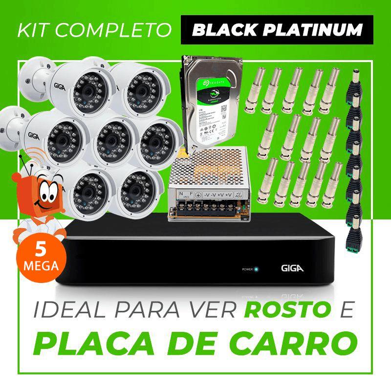 Kit Completo de Monitoramento CFTV com 7 Câmeras Open HD 5 Mega Giga Security Black Platinum  - CFTV Clube   Brasil