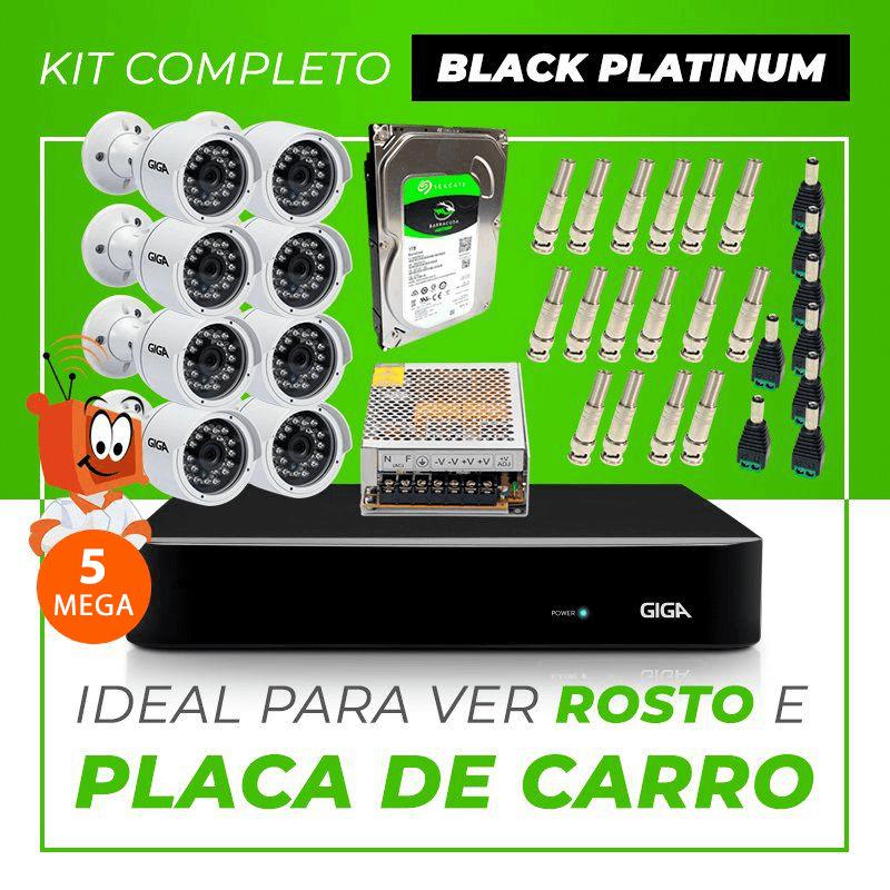 Kit Completo de Monitoramento CFTV com 8 Câmeras Open HD 5 Mega Giga Security Black Platinum  - CFTV Clube | Brasil