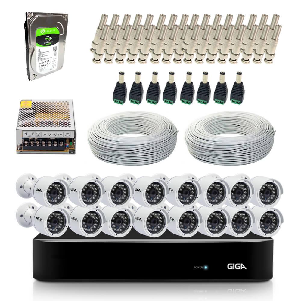 Kit Completo de Monitoramento com 16 Câmeras Open HD Giga Security  - CFTV Clube | Brasil