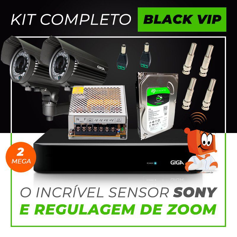 Kit Completo de Monitoramento com 2 Câmeras Varifocais Giga Security Black Vip  - CFTV Clube | Brasil