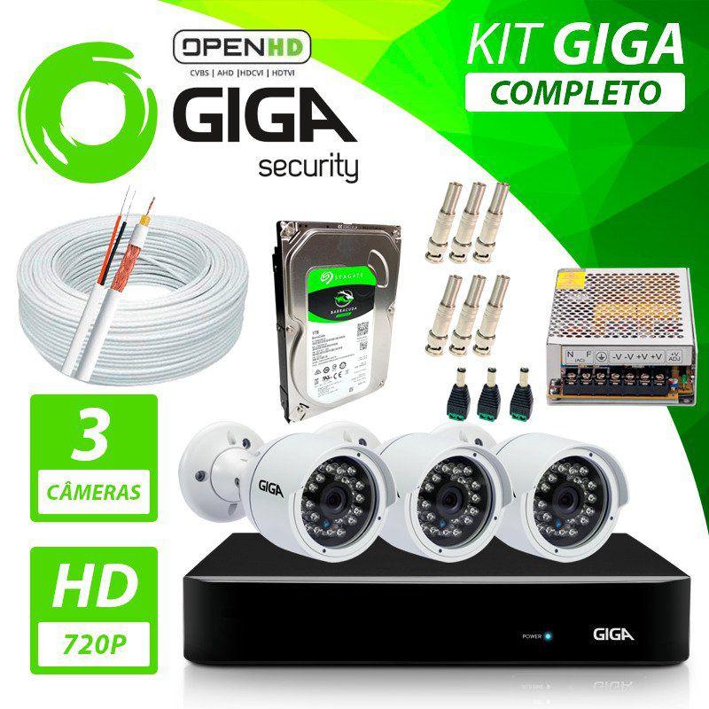 Kit Completo de Monitoramento com 3 Câmeras Open HD Giga Security  - CFTV Clube | Brasil