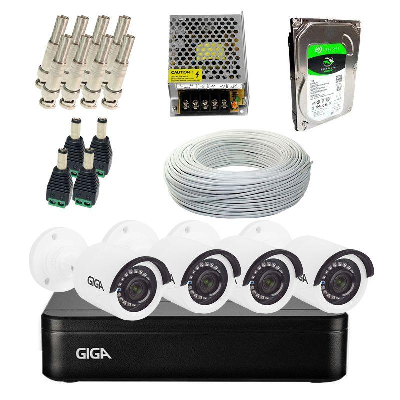 Kit Completo de Monitoramento com 4 Câmeras Open HD Giga Security  - CFTV Clube   Brasil