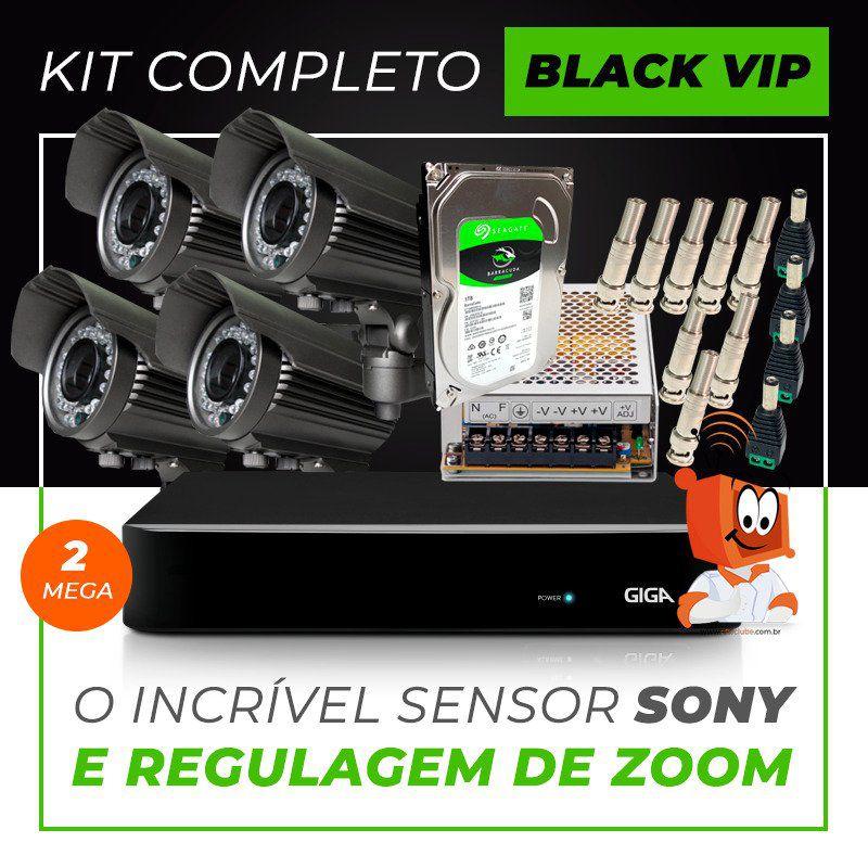 Kit Completo de Monitoramento com 4 Câmeras Varifocais Giga Security Black Vip  - CFTV Clube | Brasil