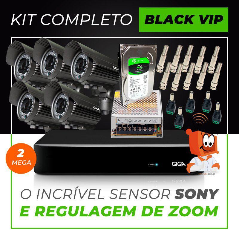 Kit Completo de Monitoramento com 5 Câmeras Varifocais Giga Security Black Vip  - CFTV Clube | Brasil