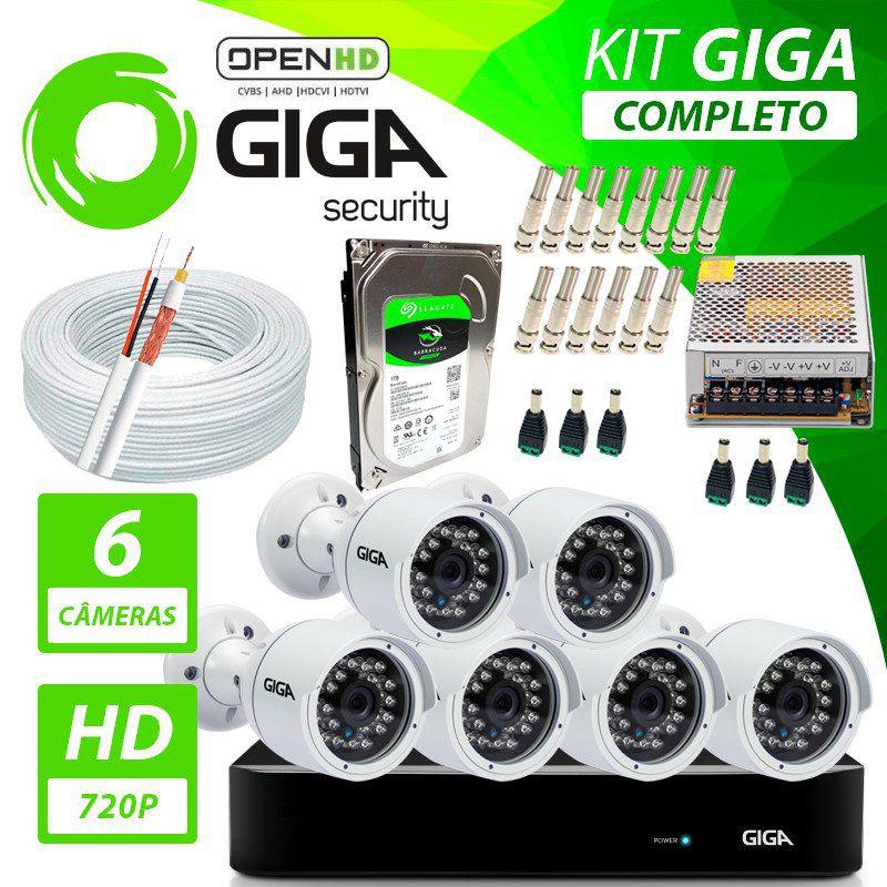 Kit Completo de Monitoramento com 6 Câmeras Open HD Giga Security  - CFTV Clube   Brasil