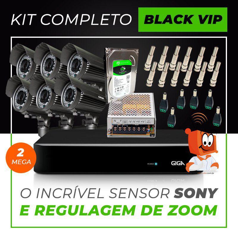 Kit Completo de Monitoramento com 6 Câmeras Varifocais Giga Security Black Vip  - CFTV Clube | Brasil