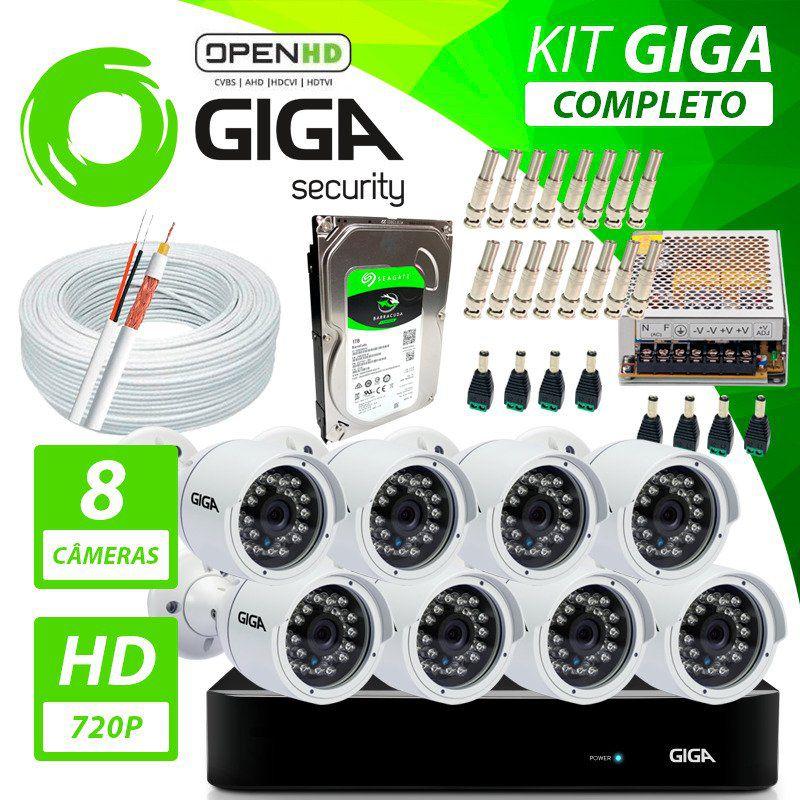 Kit Completo de Monitoramento com 8 Câmeras Open HD Giga Security  - CFTV Clube   Brasil