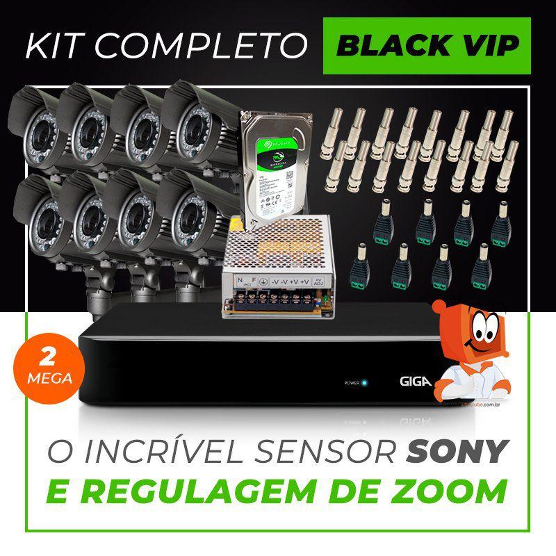 Kit Completo de Monitoramento com 8 Câmeras Varifocais Giga Security Black Vip  - CFTV Clube | Brasil