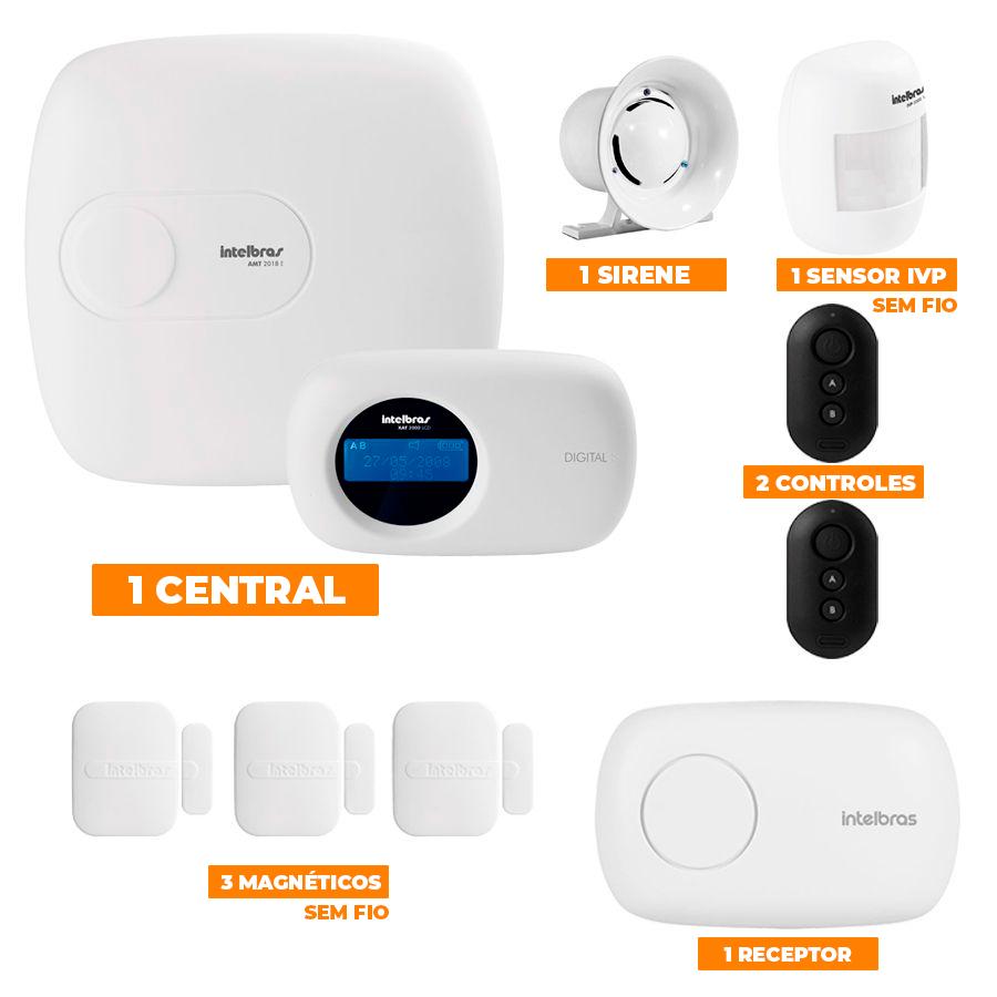 Kit de Alarme Intelbras 1-Central AMT 2018E c/ 04-Sensores com Monitoramento por Aplicativo via Internet Sem Fio  - CFTV Clube   Brasil