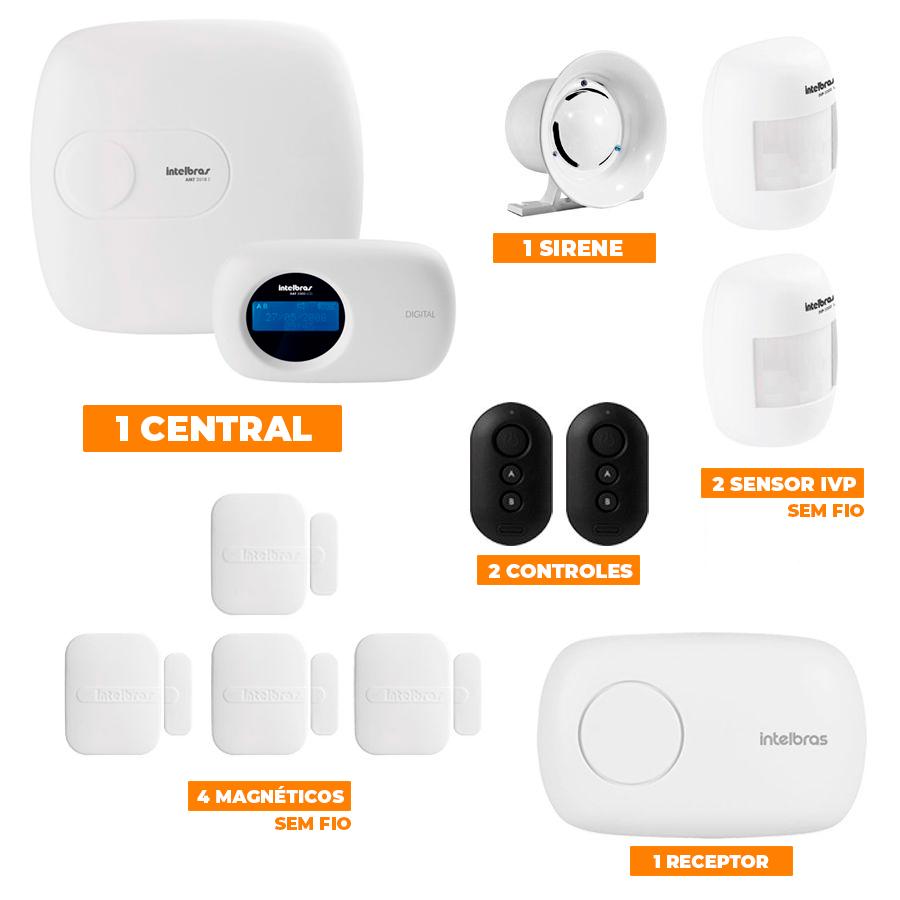 Kit de Alarme Intelbras 1-Central AMT 2018E c/ 6-Sensores com Monitoramento por Aplicativo via Internet sem fio  - CFTV Clube | Brasil