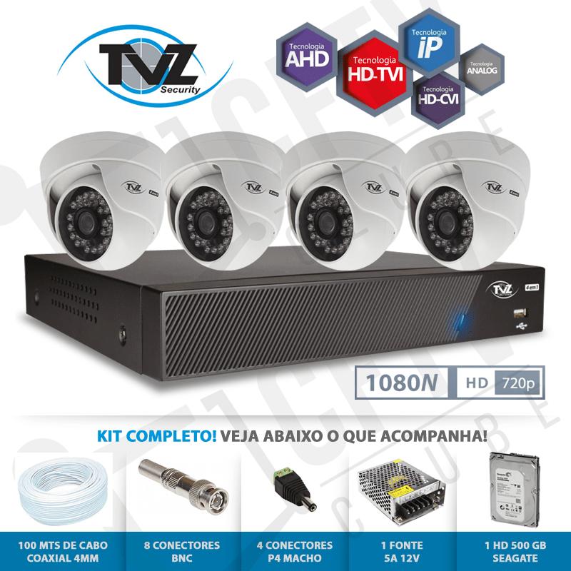 Kit Dome Super Flex Alta definição 4 Canais com 4 Câmeras Tecvoz Tvz completo  - CFTV Clube | Brasil