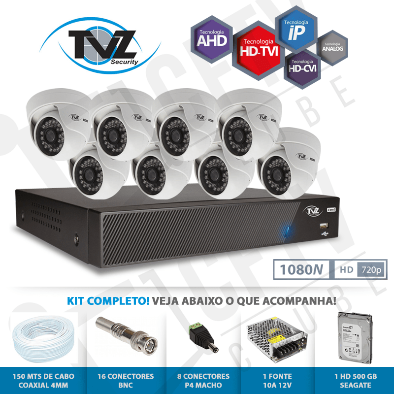 Kit Dome Super Flex Alta definição 8 Canais com 8 Câmeras Tecvoz Tvz completo  - CFTV Clube | Brasil