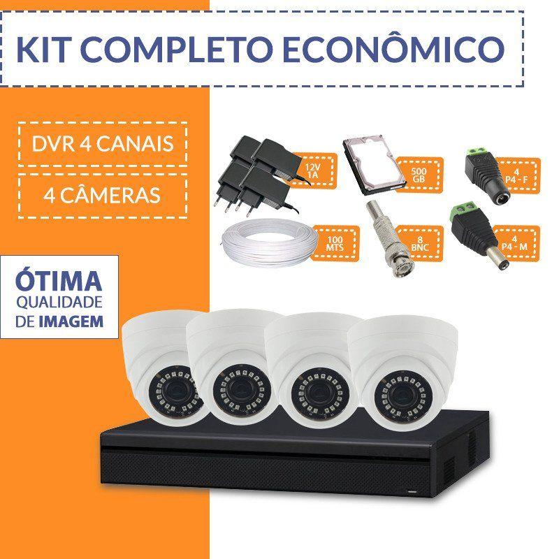 Kit Econômico Completo com 4 Câmeras Internas  - CFTV Clube | Brasil